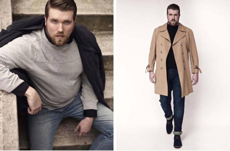 férfi divat - plus size férfi modell - férfimagazin
