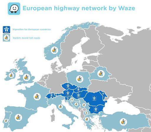Waze - útdíjak Európában