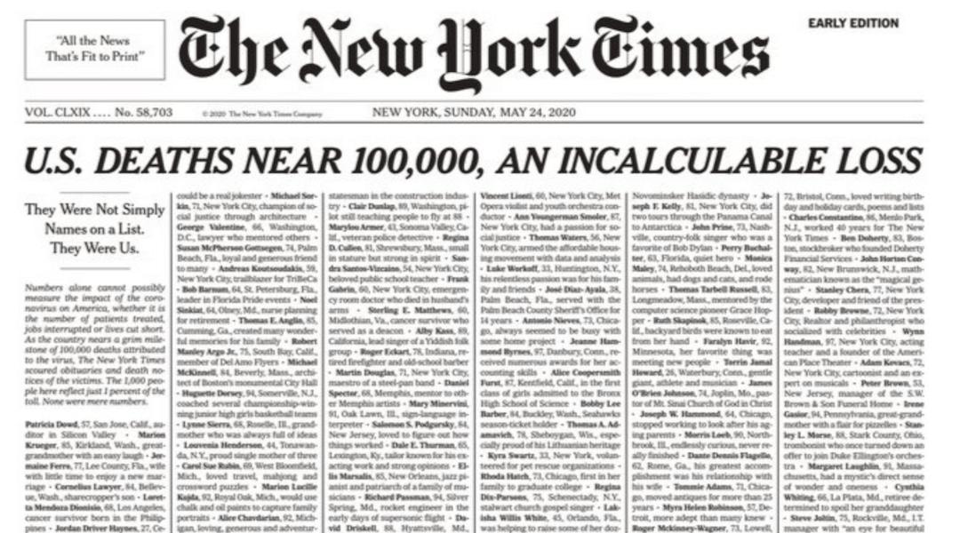 The New York Times - koronavírus - 2020