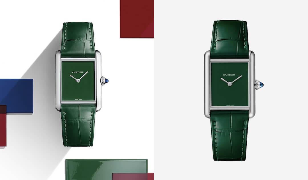 férfi karóra divat - zöld trend - Cartier